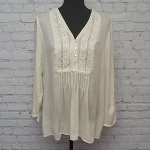 LUCKY BRAND long sleeve cream tunic. Size Med